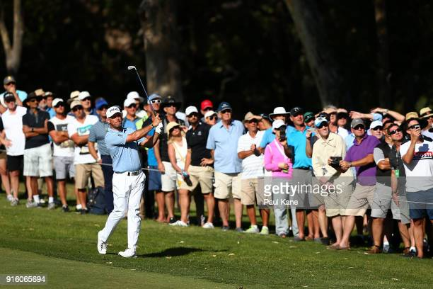 Lee Westwood of England plays his second shot on the 18th hole during day two of the World Super 6 at Lake Karrinyup Country Club on February 9 2018...