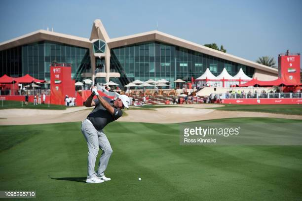 Lee Westwood of England plays his second shot on the ninth hole during Day Two of the Abu Dhabi HSBC Golf Championship at Abu Dhabi Golf Club on...