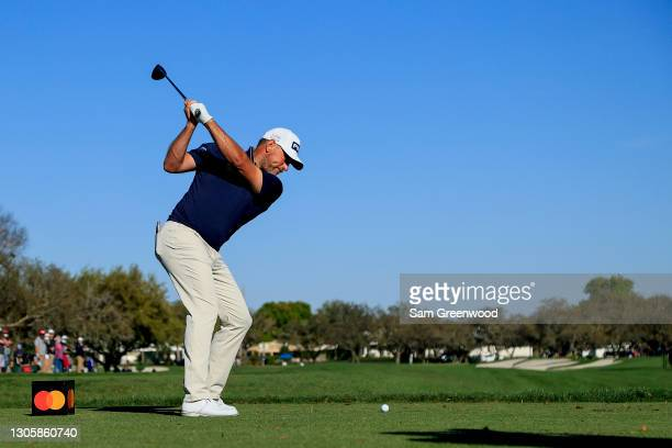 Lee Westwood of England plays his shot from the 11th tee during the final round of the Arnold Palmer Invitational Presented by MasterCard at the Bay...