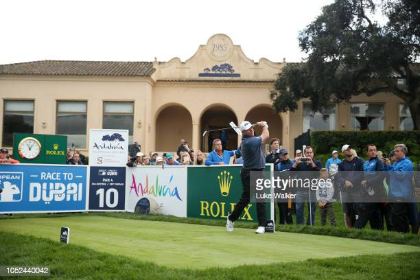 Lee Westwood of England plays his shot off the 10th tee during day one of the Andalucia Valderrama Masters at Real Club Valderrama on October 18 2018...