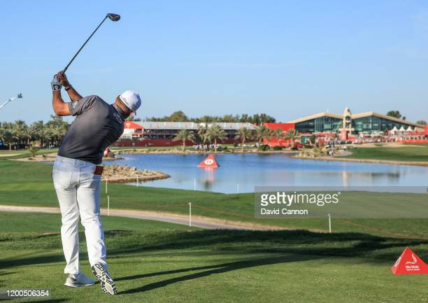 Lee Westwood of England plays his tee shot on the 18th hole during the final round of the Abu Dhabi HSBC Championship at Abu Dhabi Golf Club on...