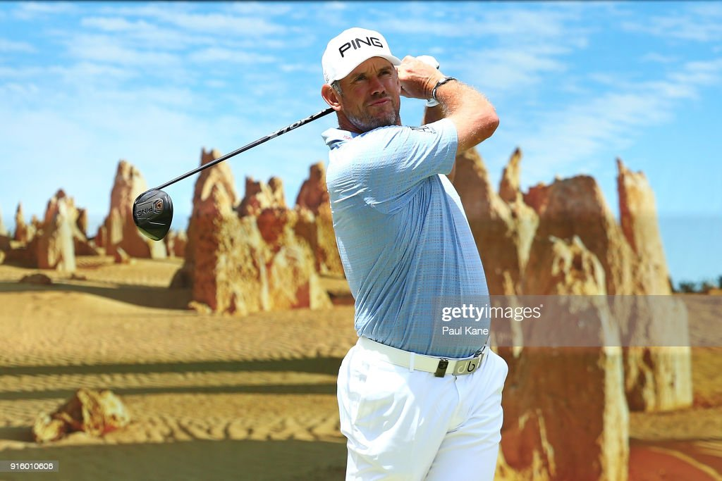 Lee Westwood of England plays his tee shot on the 6th hole during day two of the World Super 6 at Lake Karrinyup Country Club on February 9, 2018 in Perth, Australia.