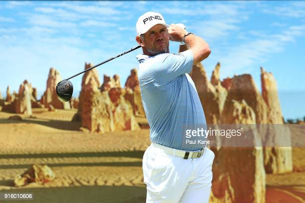 Lee Westwood of England plays his tee shot on the 6th hole during day two of the World Super 6 at Lake Karrinyup Country Club on February 9 2018 in...
