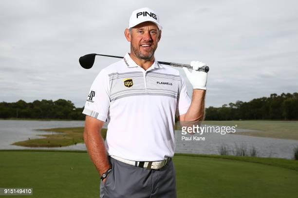 Lee Westwood of England poses during the proam ahead of the World Super 6 at Lake Karrinyup Country Club on February 7 2018 in Perth Australia