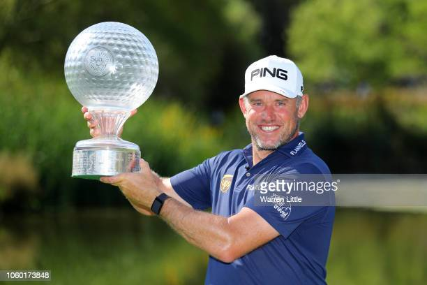 Lee Westwood of England poses with the trophy after he wins the Nedbank Golf Challenge at Gary Player CC on November 11 2018 in Sun City South Africa