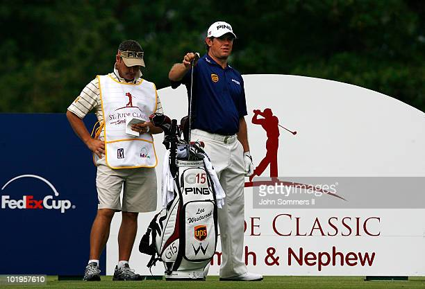 Lee Westwood of England prepares to tee off on the 14th tee during the first round of the St. Jude Classic at TPC Southwind held on June 10, 2010 in...