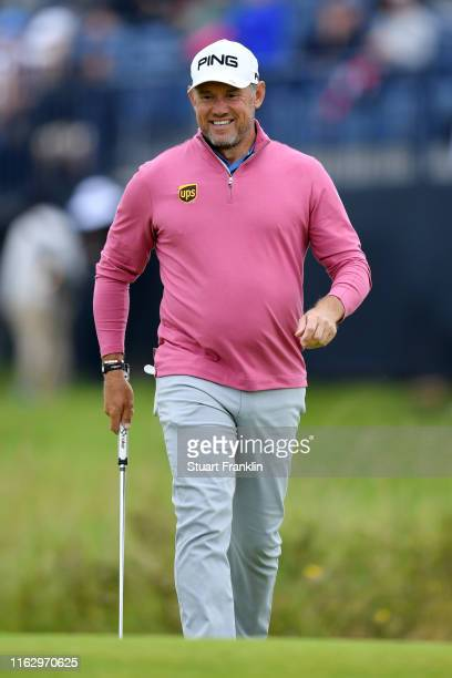 Lee Westwood of England reacts after playing a putt on the 14th green during the second round of the 148th Open Championship held on the Dunluce...
