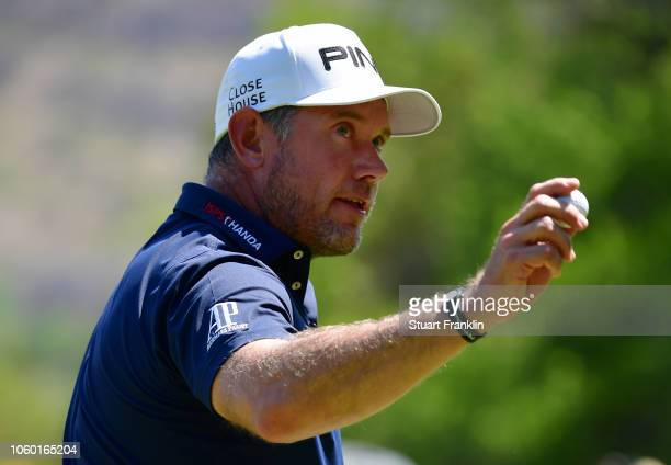 Lee Westwood of England reacts on the 16th green during Day Four of the Nedbank Golf Challenge at Gary Player CC on November 11 2018 in Sun City...