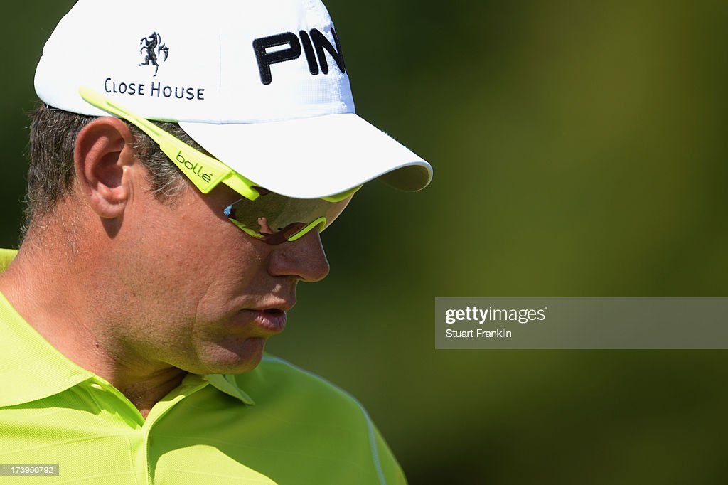 Lee Westwood of England reacts on the 8th green during the first round of the 142nd Open Championship at Muirfield on July 18, 2013 in Gullane, Scotland.
