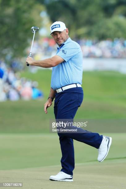 Lee Westwood of England reacts on the first green during the final round of the Honda Classic at PGA National Resort and Spa Champion course on March...