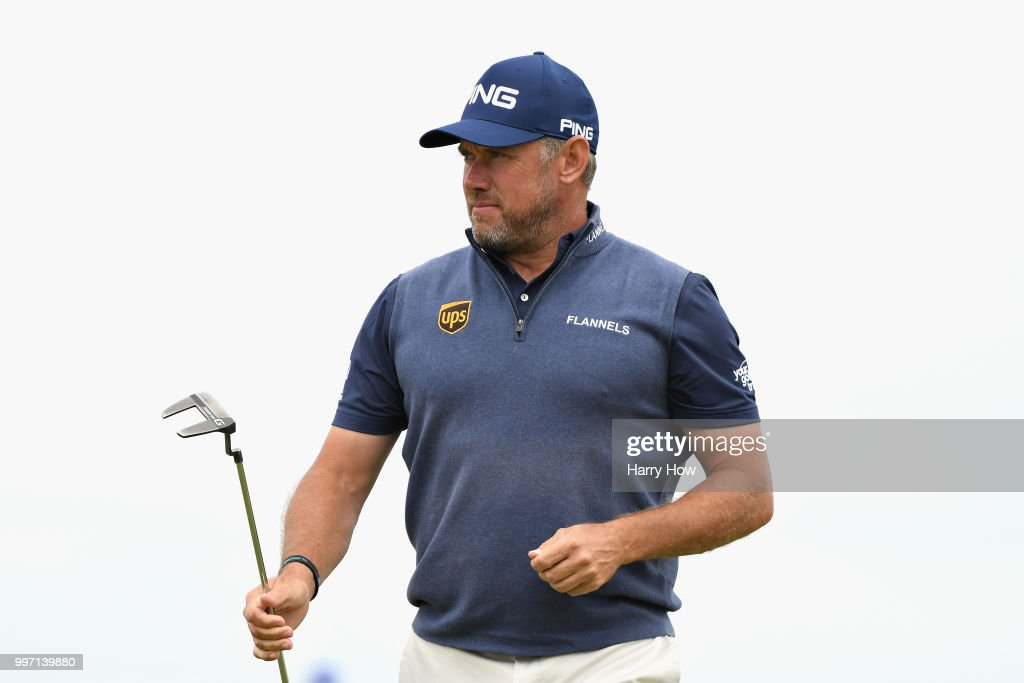 Lee Westwood of England reacts to a birdie putt on hole fourteen during day one of the Aberdeen Standard Investments Scottish Open at Gullane Golf Course on July 12, 2018 in Gullane, Scotland.