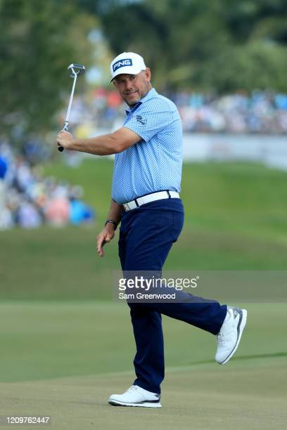Lee Westwood of England reacts to a shot on the first hole during the final round of the Honda Classic at PGA National Resort and Spa Champion course...