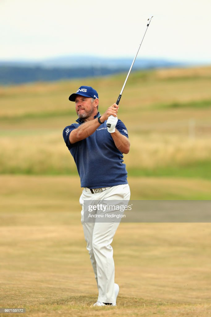 Lee Westwood of England takes his second shot on hole eighteen during day one of the Aberdeen Standard Investments Scottish Open at Gullane Golf Course on July 12, 2018 in Gullane, Scotland.