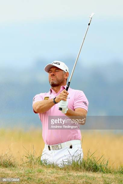 Lee Westwood of England takes his second shot on hole seven during day two of the Aberdeen Standard Investments Scottish Open at Gullane Golf Course...