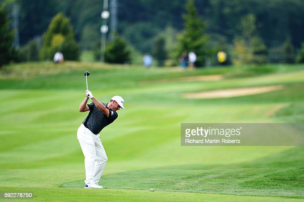 Lee Westwood of England takes his second shot on the 10th hole during day three of the DD REAL Czech Masters at Albatross Golf Resort at Albatross...
