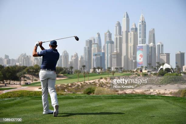 Lee Westwood of England takes his tee shot on hole eight during Day Three of the Omega Dubai Desert Classic at Emirates Golf Club on January 26, 2019...