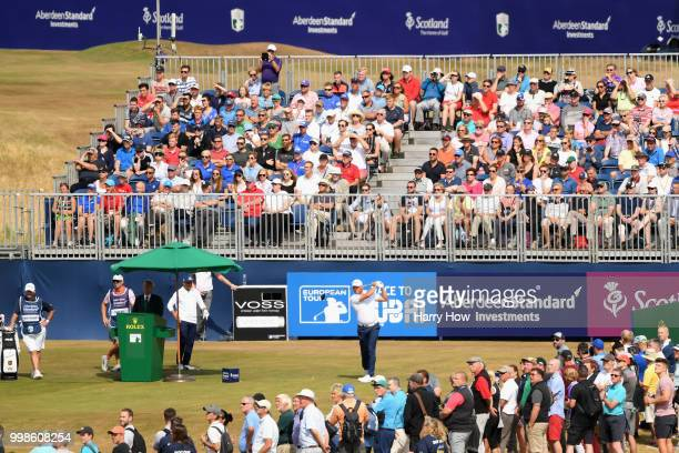 Lee Westwood of England takes his tee shot on hole one during day three of the Aberdeen Standard Investments Scottish Open at Gullane Golf Course on...