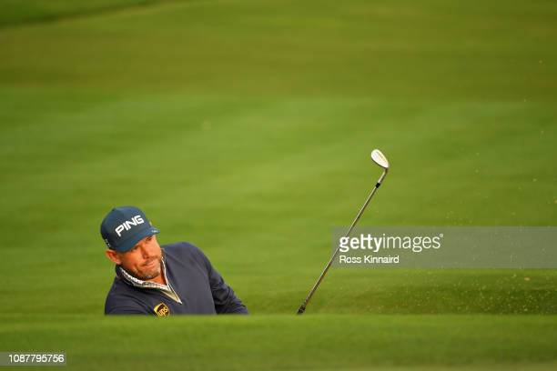 Lee Westwood of England takes his third shot on hole ten during Day One of the Omega Dubai Desert Classic at Emirates Golf Club on January 24 2019 in...