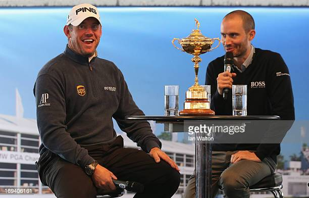 Lee Westwood of England takes part in a question and answer session with the public in the tented village during the second round of the BMW PGA...