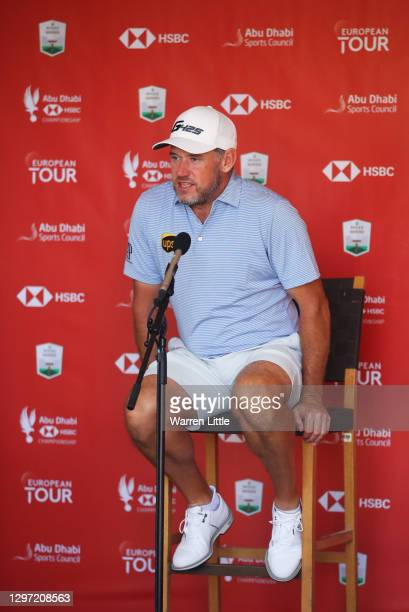 Lee Westwood of England talks in a virtual press conference during practice ahead of the Abu Dhabi HSBC Championship at Abu Dhabi Golf Club on...