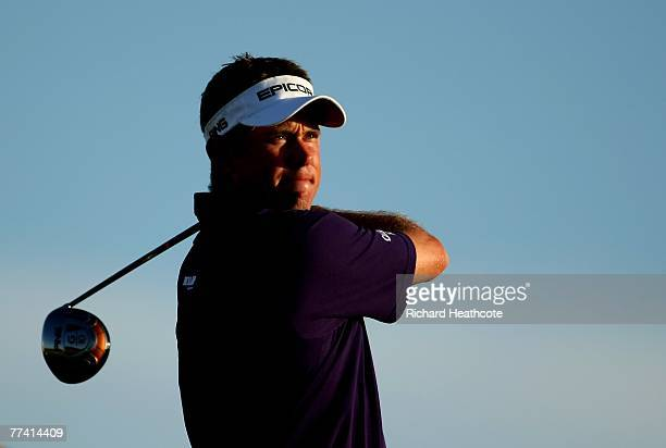 Lee Westwood of England tee's off at the 18th during the second round of the Portugal Masters at Ocenico Victoria Clube de Golfe on 19 October 2007...