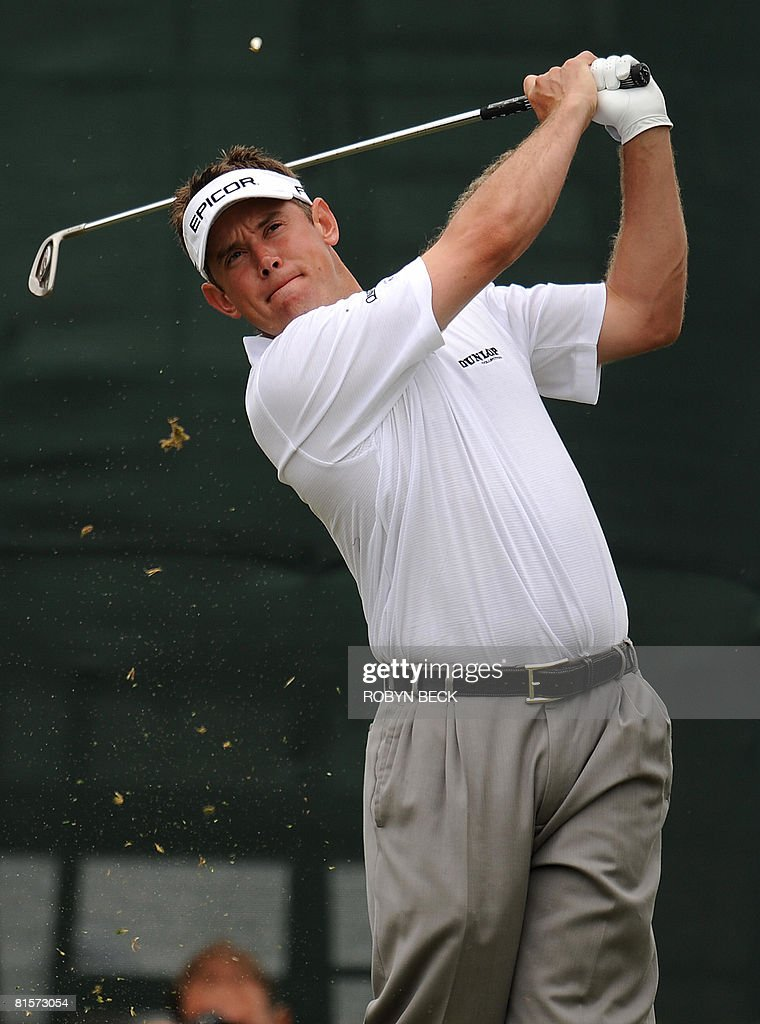 Lee Westwood of England tees off for the third hole, in the third round of the 108th U.S. Open golf tournament at Torrey Pines Golf Course in San Diego, California on June 14, 2008. Westwood is one stroke behind Tiger Woods for the lead after three rounds.