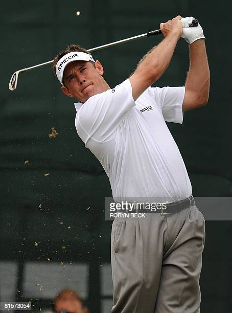 Lee Westwood of England tees off for the third hole in the third round of the 108th US Open golf tournament at Torrey Pines Golf Course in San Diego...