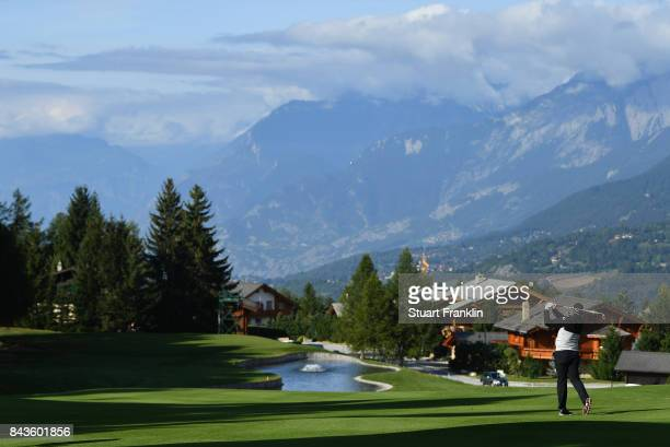 Lee Westwood of England tees off on the 14th during day one of the 2017 Omega European Masters at Crans-sur-Sierre Golf Club on September 7, 2017 in...