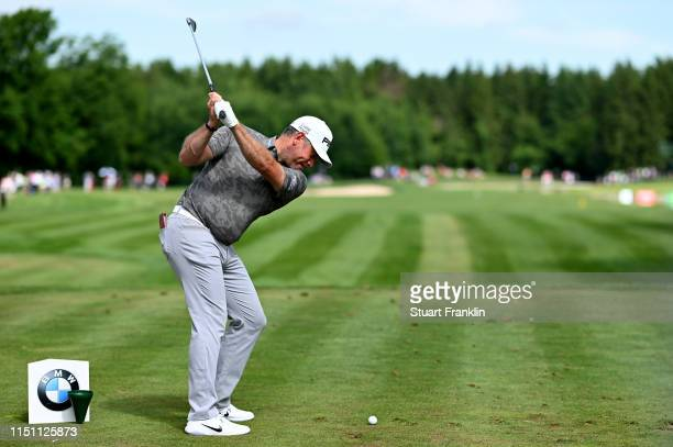 Lee Westwood of England tees off on the 16th hole during day two of the BMW International Open at Golfclub Munchen Eichenried on June 21 2019 in...