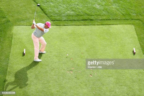 Lee Westwood of England tees off on the 17th hole during the second round of the Omega Dubai Desert Classic on the Majils Course at Emirates Golf...