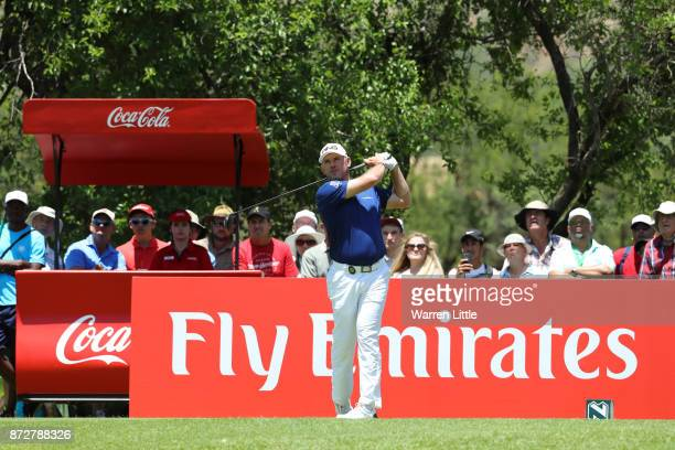 Lee Westwood of England tees off on the 2nd hole during the third round of the Nedbank Golf Challenge at Gary Player CC on November 11 2017 in Sun...