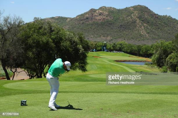 Lee Westwood of England tees off on the 4th hole during the second round of the Nedbank Golf Challenge at Gary Player CC on November 10 2017 in Sun...