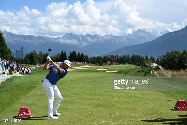 Lee Westwood of England tees off on the 7th hole during Day Two of the Omega European Masters at Crans-sur-Sierre Golf Club on August 30, 2019 in...