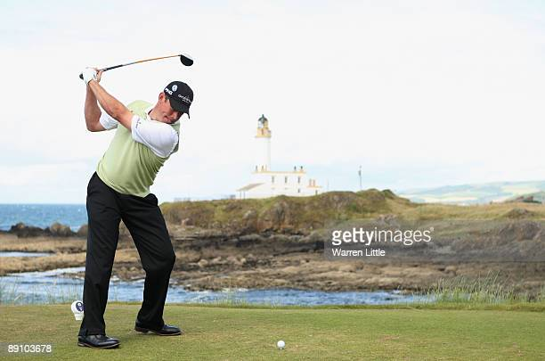 Lee Westwood of England tees off on the 9th hole during the final round of the 138th Open Championship on the Ailsa Course Turnberry Golf Club on...