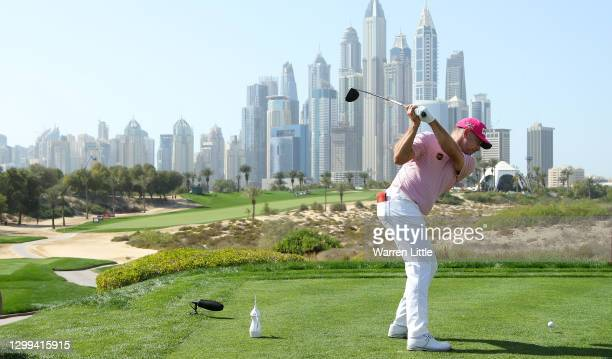 Lee Westwood of England tees off on the eight hole during the third round of the Omega Dubai Desert Classic at Emirates Golf Club on January 30, 2021...