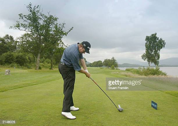 Lee Westwood of England tees off on the fifth hole during the ProAm of the Barclays Scottish Open on July 9 2003 at the Loch Lomond golf club in...
