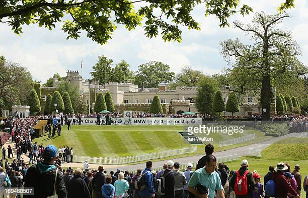 Lee Westwood of England tees off on the first hole during the third round of the BMW PGA Championship on the West Course at Wentworth on May 25 2013...