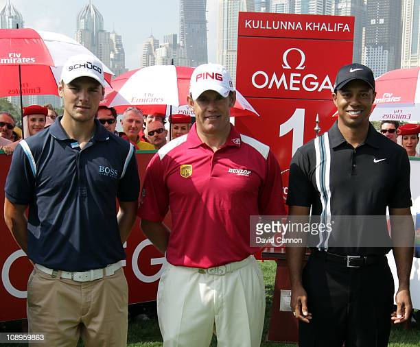 Lee Westwood of England the world's number 1 is flanked by Martin Kaymer of Germany the world's number 2 and Tiger Woods of the USA the world's...
