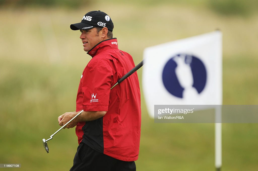 Lee Westwood of England walks across a green during the second practice round during The Open Championship at Royal St. George's on July 12, 2011 in Sandwich, England. The 140th Open begins on July 14, 2011.