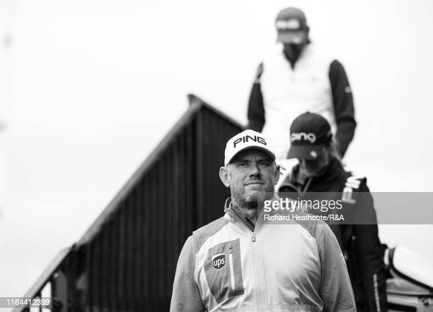 Lee Westwood of England walks to the first tee during the final round of the 148th Open Championship held on the Dunluce Links at Royal Portrush Golf...