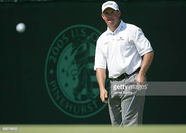 Lee Westwood of England watches a pitch shot to the 10th green during round one of the US Open June 16 2005 at Pinehurst Resort in Pinehurst North...