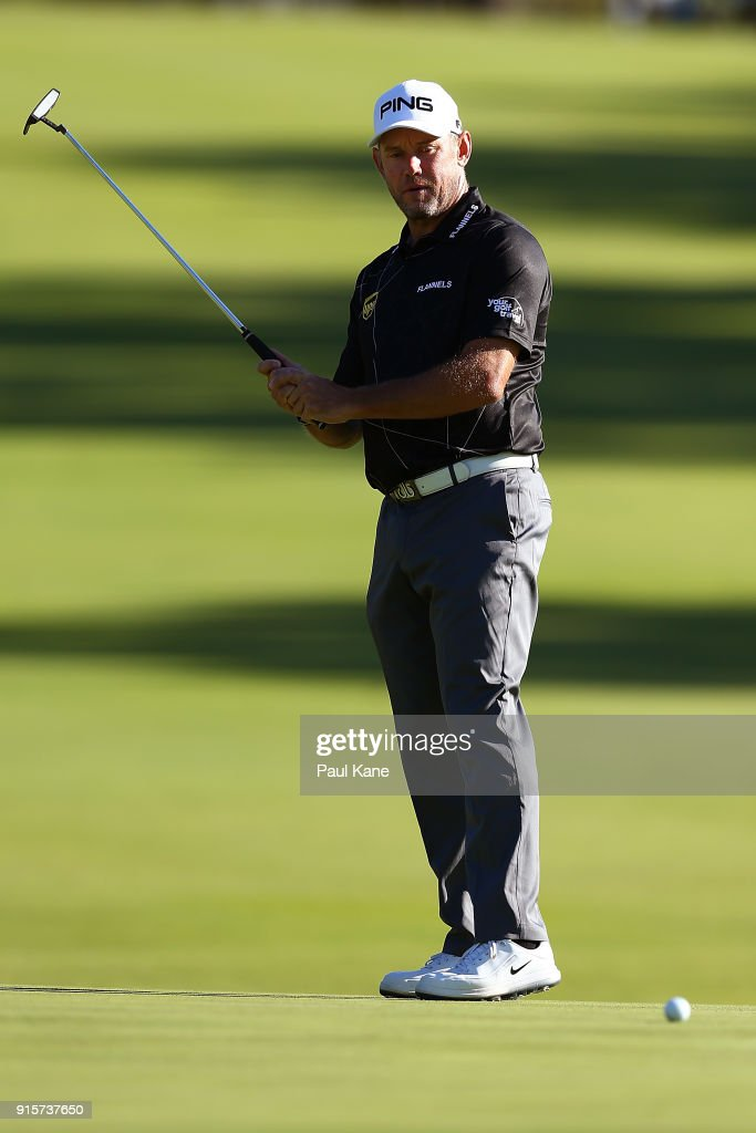 Lee Westwood of England watches his putt on the 13th green during day one of the World Super 6 at Lake Karrinyup Country Club on February 8, 2018 in Perth, Australia.