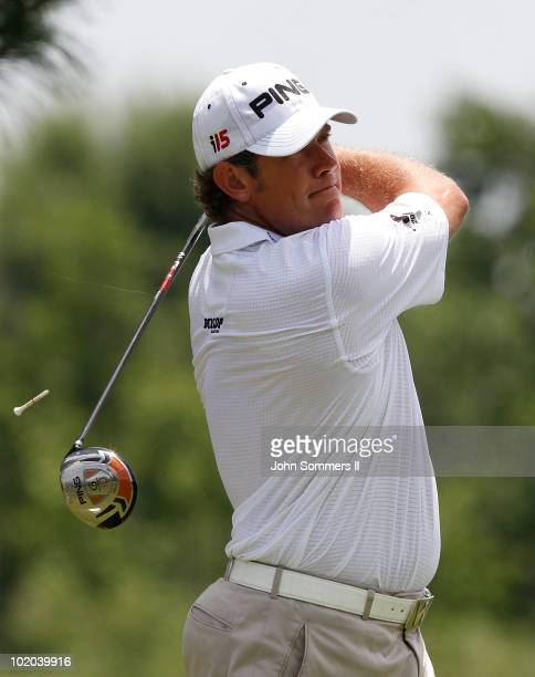 Lee Westwood of England watches his tee shot on the third hole during the final round of the St. Jude Classic at TPC Southwind held on June 13, 2010...
