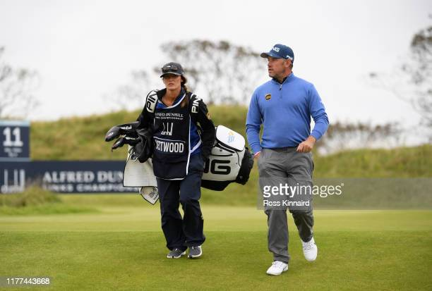 Lee Westwood of England with caddie and girlfriend and caddie Helen Storey during Day two of the Alfred Dunhill Links Championship at Kingsbarns Golf...