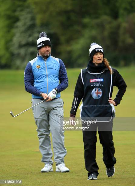 Lee Westwood of England with his Girlfriend and Caddy Helen Storey during Day One of the Betfred British Masters at Hillside Golf Club on May 09 2019...