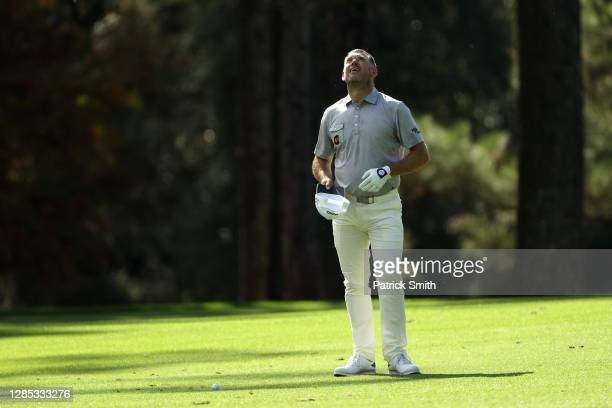 Lee Westwood of Englandlooks on on the 14th hole during the first round of the Masters at Augusta National Golf Club on November 12, 2020 in Augusta,...