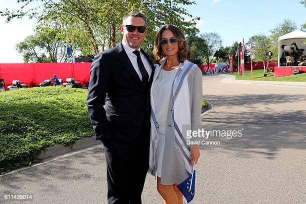 Lee Westwood of Europe and Helen Storey attend the 2016 Ryder Cup Opening Ceremony at Hazeltine National Golf Club on September 29 2016 in Chaska...