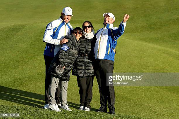 Lee Westwood of Europe and wife Laurae Westwood pose with Jamie Donaldson of Europe and partner Kathryn Tagg during the Afternoon Foursomes of the...