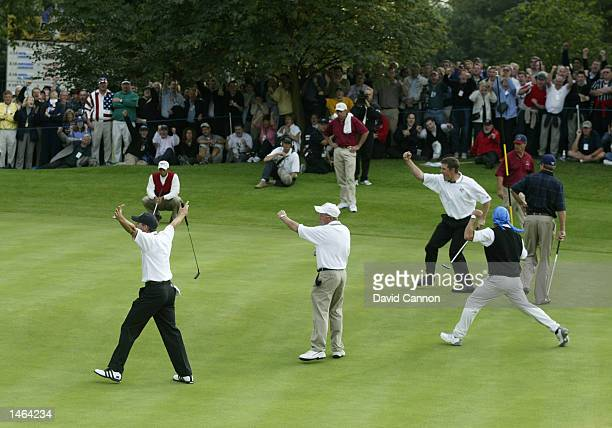 Lee Westwood of Europe celebrates his birdie on the 14th hole during the afternoon fourballs on the second day of the 34th Ryder Cup matches between...