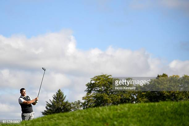 Lee Westwood of Europe hits off a tee during practice prior to the 2016 Ryder Cup at Hazeltine National Golf Club on September 29, 2016 in Chaska,...